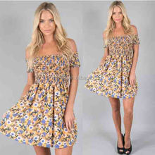 Wholesale Custom Woodstock Off Shoulder Dress High Quality Women Fashion Dress Pattern Online Shopping