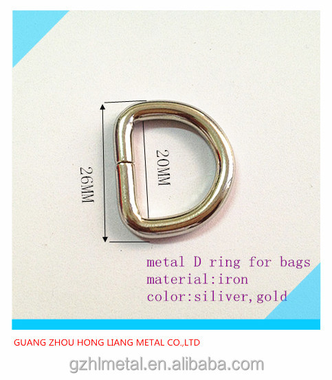20mm metal D ring buckle for leather bags small metal fitting supplier