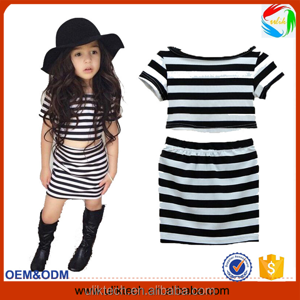 HOT!Black and white stripes baby girl clothes New fashion baby clothes wholesale price