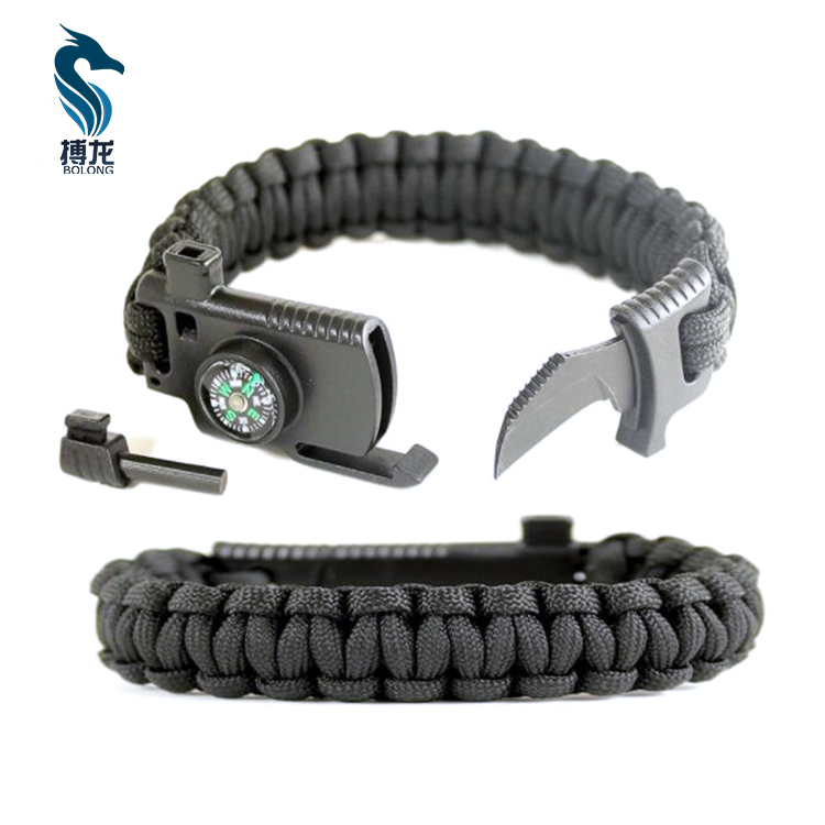 Outdoors Survival Paracord Bracelet Kit with Detachable Flint Fire Starter, Whistle Emergency, Compass & Scraper/Knife