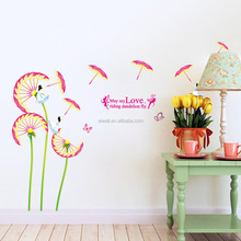 9121 Dandelion Flower Unbrealla Wall Stickers May My Love Riding Dandelion Fly Decals