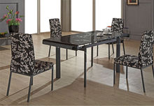 Black Mono Printing Glass Top Kitchen Table Manufacture