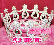 promotional gift hair crystal beauty round big pageant crowns for kids
