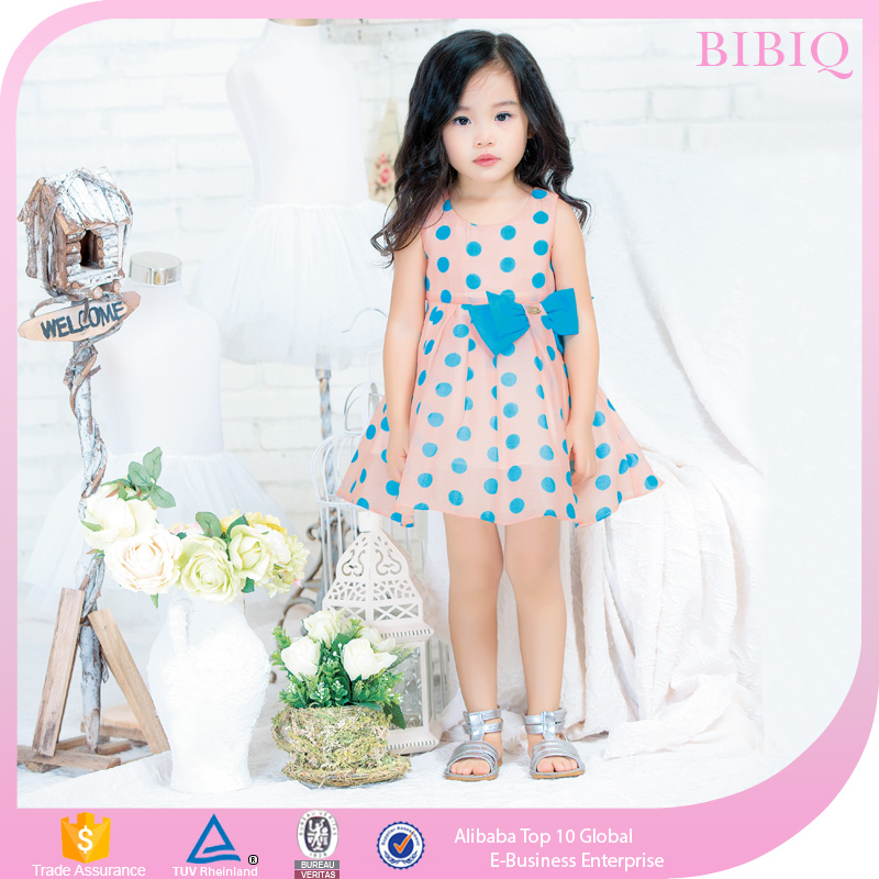 High Quality Children Clothing Frock Design Sleeveless Dot Print Girl Dresses For Baby Girls