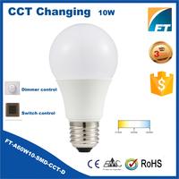 Energy saving lamp 10w e27 color temperature changing led bulb light