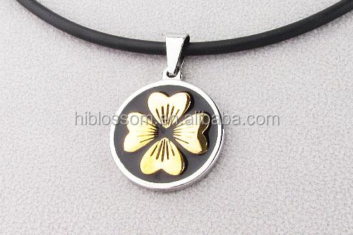 cheaper four leaves clover stainless steel enamel pendant 18k gold plated
