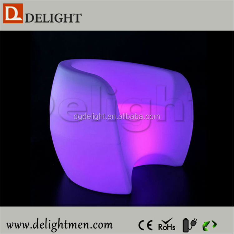 Outdoor furniture hot sale luminous rechargeable color changing remote control high back antique sofa