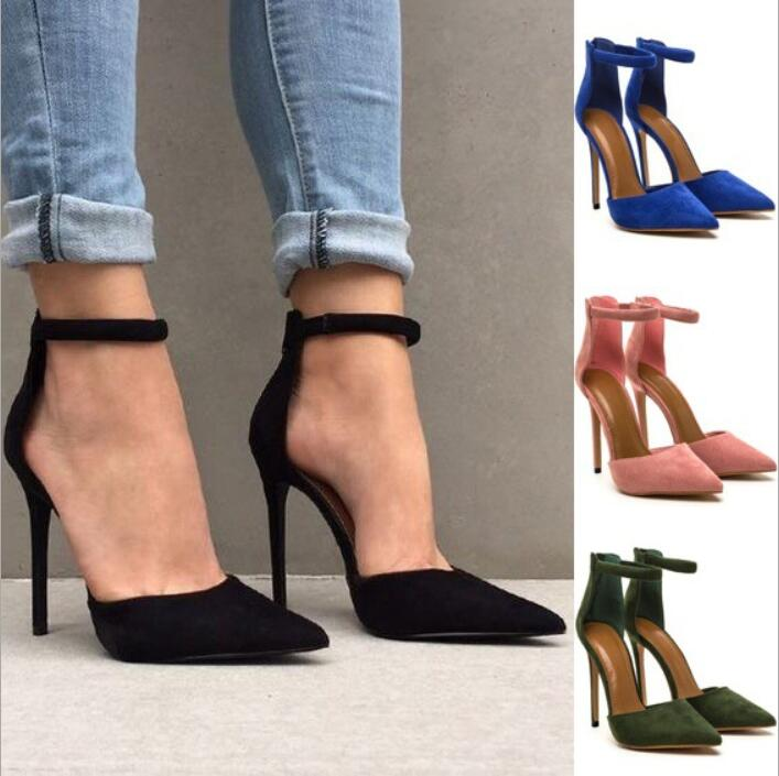 zm11671a Big size cusp high heel shoes for women 2017 fashion ladies sandals