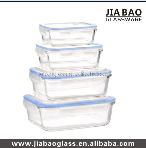 Hot sale 4pcs square food container set heat resistant glass food container for microwave oven