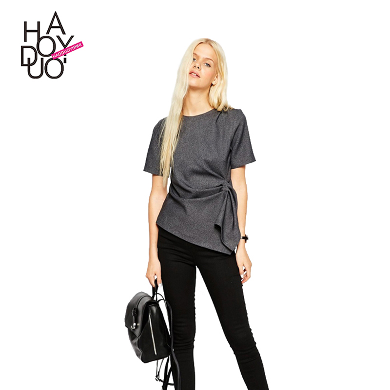 HAODUOYI Women Europe And The United States Asymmetric Waist Drape Pure Color Short-sleeve T-shirt