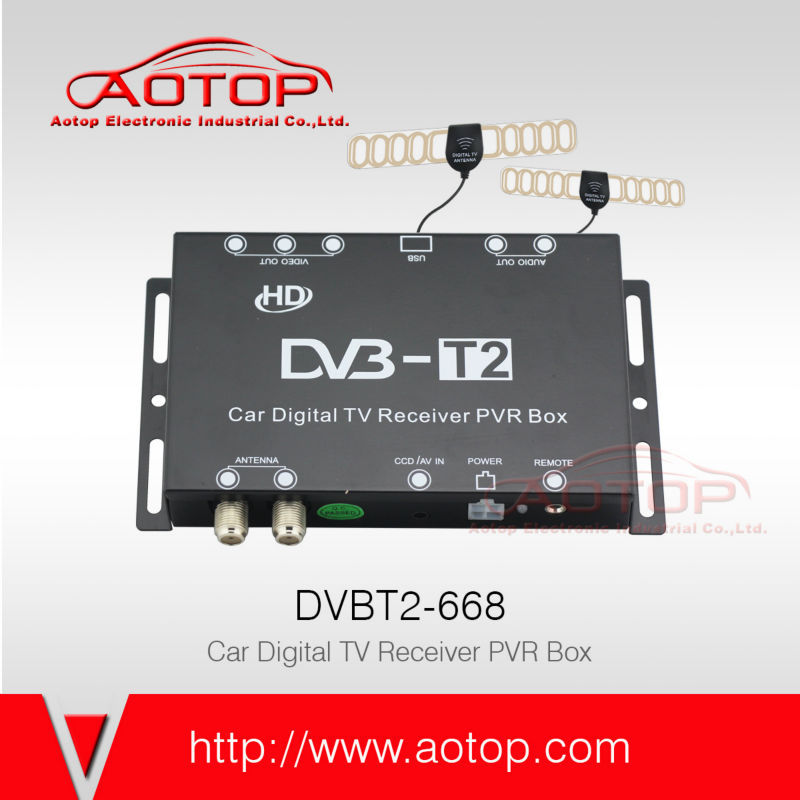 mobile free to air tv decoder dvb-t2 support speed 120km/h, Double antenna, 1080P HD, USB PVR