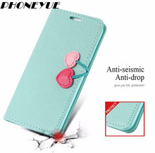 Cute Girls Cherry Magnetic Stand Wallet Card Pouch Bag Flip Leather Case Cover For iPhone5/6/7 For Samsung S6/S7/S8