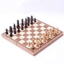 Classic Wooden International Chess Set Board Game Foldable Staunton Style Chessmen Portable Folding Board Chess Game