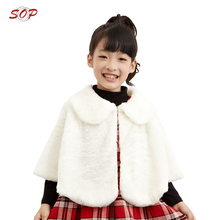 New Style Wholesale Elegance White Fake Fur Kids Shawls