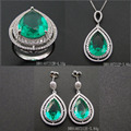 Luxury Green Spinel Drop Shape Silver Sets Jewelry DR01407212S-G