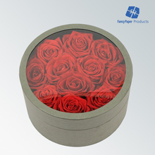 Transparent PVC Window Cardboard Round Flower Box With Lid