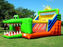 Hola crocodile inflatable slide/giant inflatable slide/hippo inflatable water slide