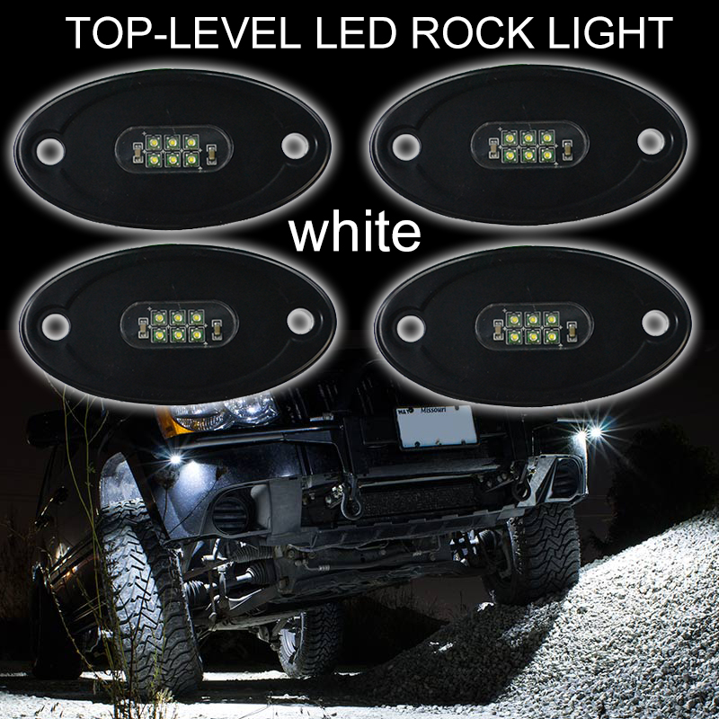 super bright Wholesale 10-30V Waterproof IP68 18W White Blue Red Green Amber Led Rock Light for jeep offroad
