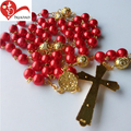 Religious christian red pomegranate glass beads rosary necklace