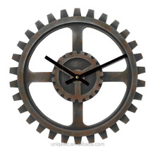 MDF wood retro gear wall clocks for decor