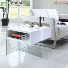 Wooden drawer white high gloss glass coffee side table