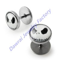 DAR 16g Gauge Stainless Mr.Jack Logo Bar Plugs Faux Cheater Stretching Kit Ear Tunnel Piercing Jewelry