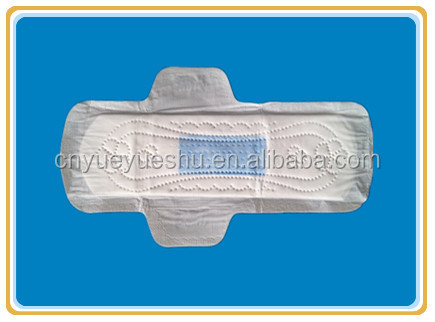 blue incored sanitary pads with nonwoven surface