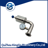 Sanitary stainless steel pressure relief valve with pressure gauge