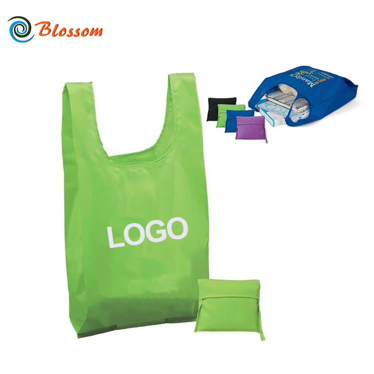 China Manufacture Custom Imprint Polyester Large T-shirt Foldable Shopping Tote Bag
