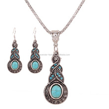Aliexpress hot selling vintage style turquoise geometric pendant necklace and earrings set