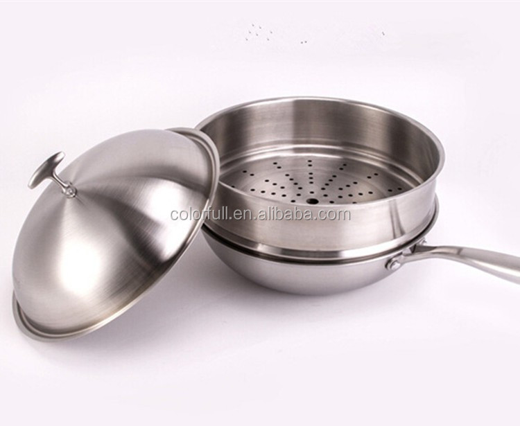 large kettles 12 inch stainless steel cooking pan frying pan