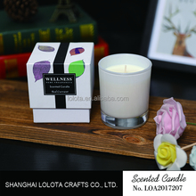 Scented soy candle in glass jar for decoration
