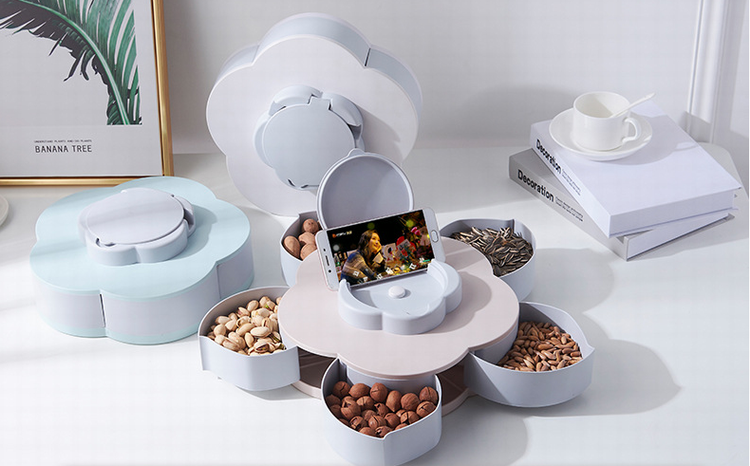 phone holder function roation snacks and candy serving box