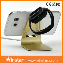 Wholesale Smart Watch Display 2 In 1 Aluminum Alloy Mobile Phone Charger Holder For Apple Watch Charging Stand