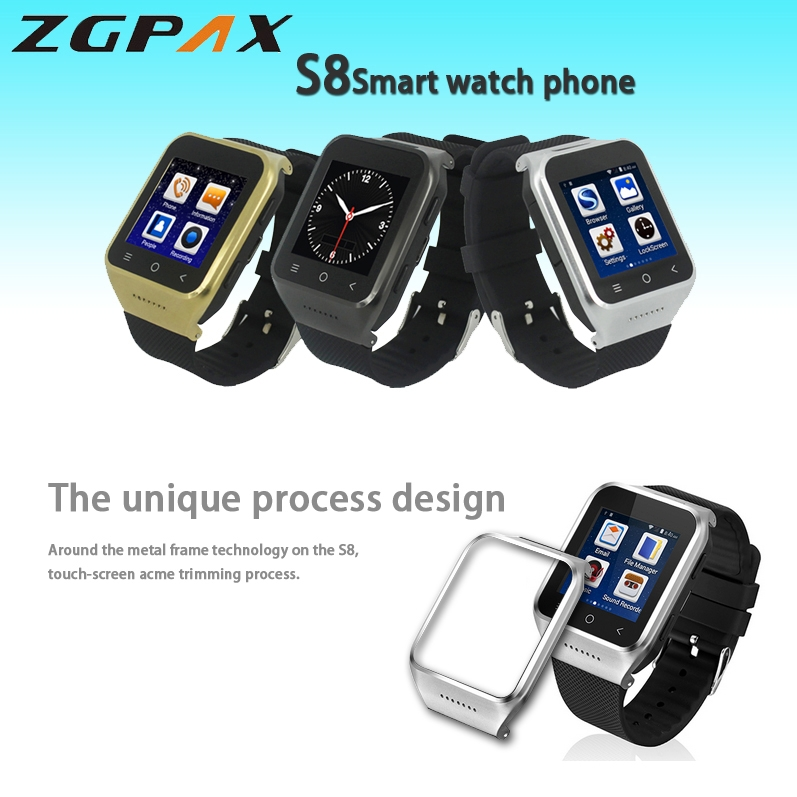 ZGPAX S8 3G 1.54 Smart Watch Phone Built-in 8GB TF Card, Android 4.4.2, MTK6572 Dual Core 1.2GHz, ROM: 4GB, WiFi, Bluetooth, GPS