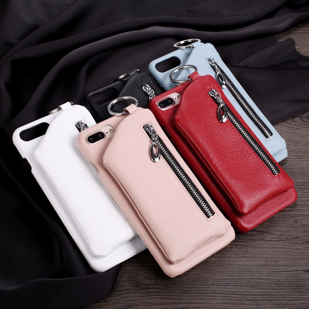 Wholesale Real Genuine Wallet Leather Phone Cases with Card Slots Holder Pocket Flip Stand Cover for iphone8