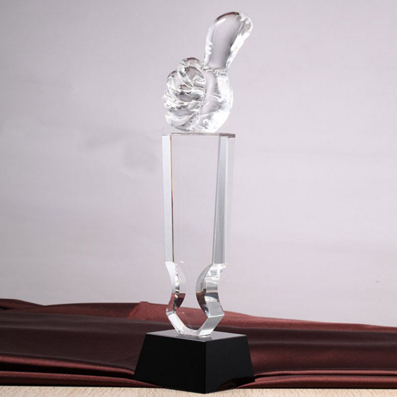 Crystal Thumb Up Trophy Custom China Sport Trophy And Medallion