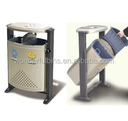 outdoor stand publicity litter bin with ashtray for park
