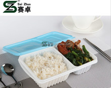 2 compartment white base with blue lid microwave feature disposable lunch box for school picnic