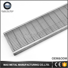 OEM/ODM MOQ=10pcs free sample stainless steel linear floor drain grate, parking lot grates