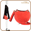 2016 newest genuine suede leather hand bag moon half handbags ladies 2016 women's clutch bag with long strap made in china