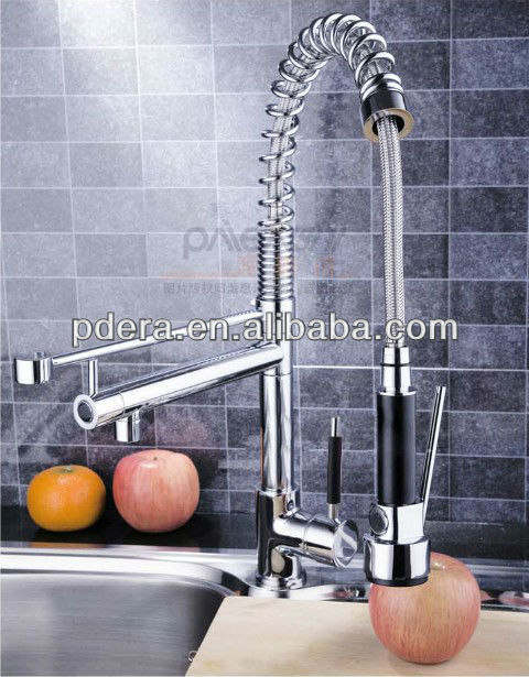 Pull out spring brass kitchen faucet