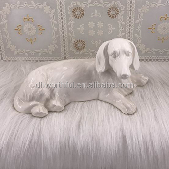 New design porcelain white dog statue for home decoration
