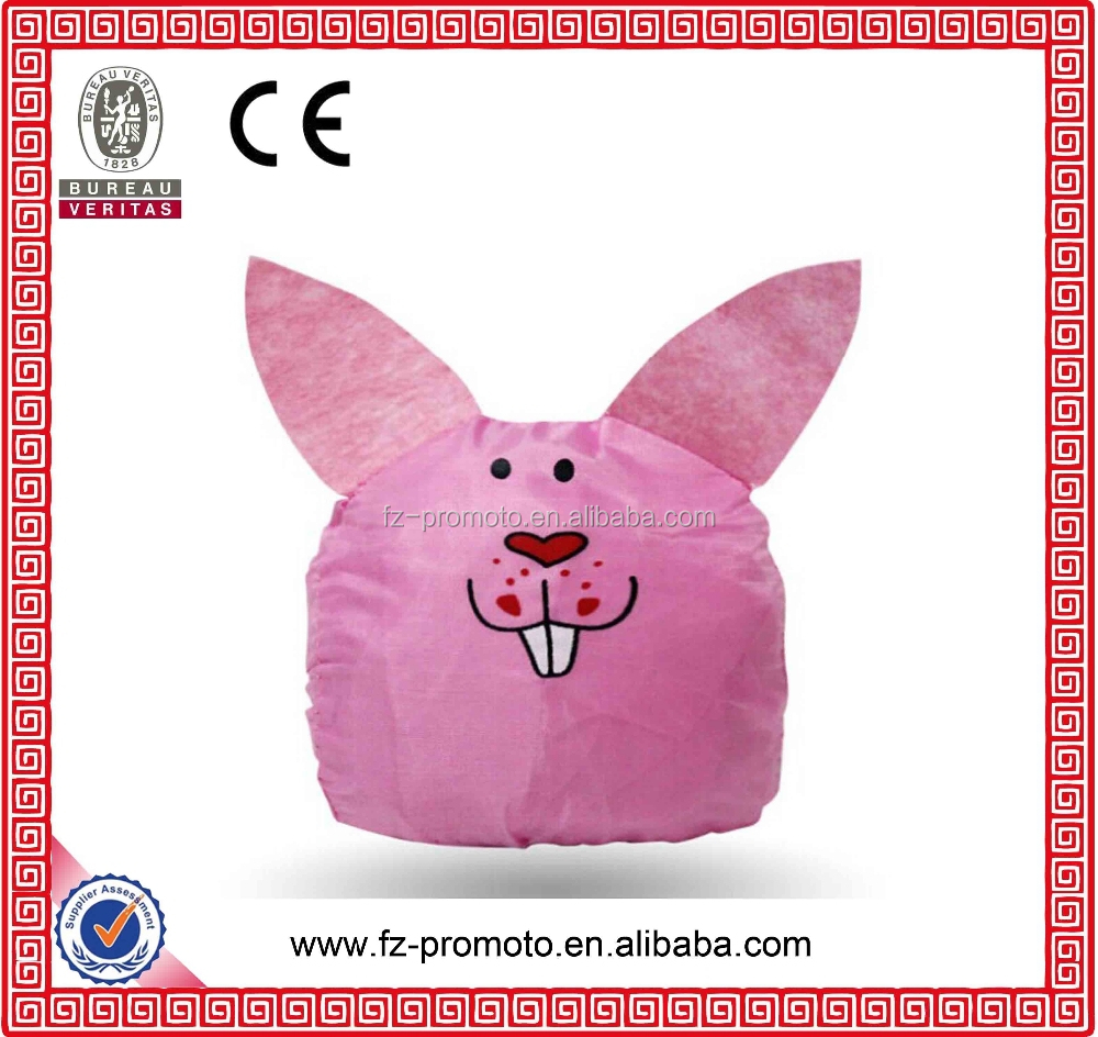2016 newly design of pink rabbit foldable shopping bags