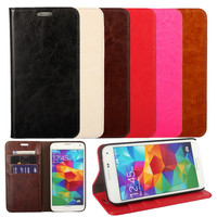 Retro Stylish Style Crazy Horse Flip Leather Case Phone Cover For Galaxy S5 i9600 CA255