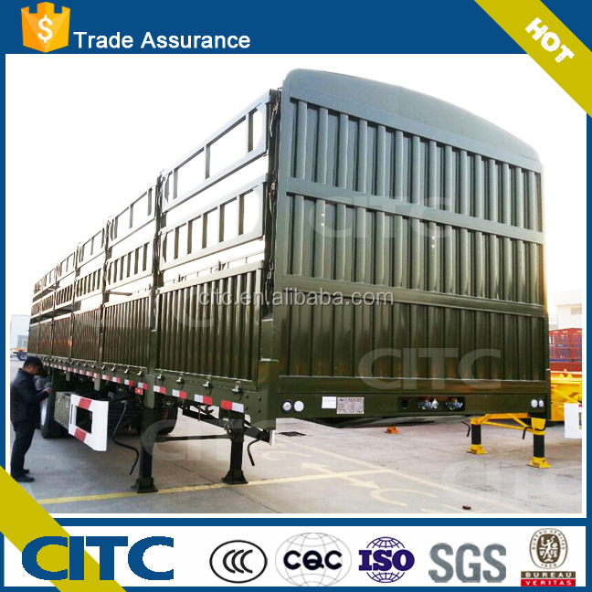 hot sale double axle fence truck trailer 20 to 45 tons loading capacities semi trailer with cage