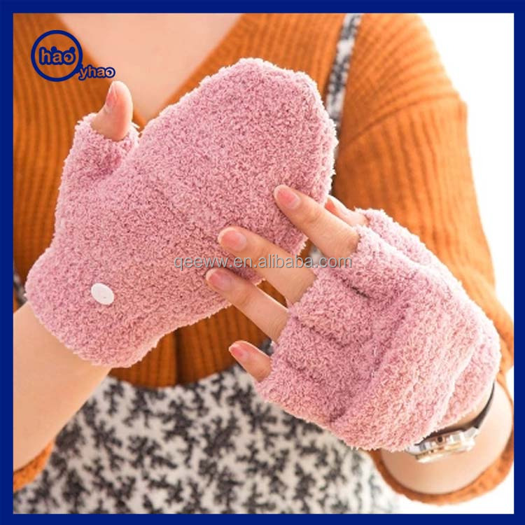 Yhao hot new products for 2016 women fashion custom knitted acrylic fingerless gloves