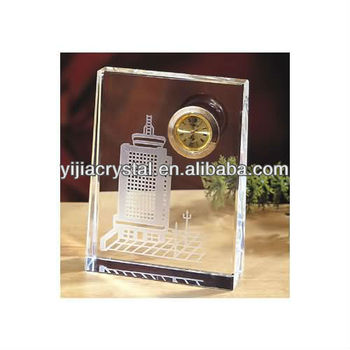 3D laser Engraved cheap Square Crystal Desk Clock