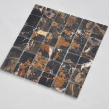 10MM Thickness Polished Black Portoro Marble Floor Mosaic Tiles