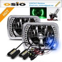 7 inch Square Install H4 or HID H4 Xenon Bulb with LED Halo Ring Semi Sealed Beam